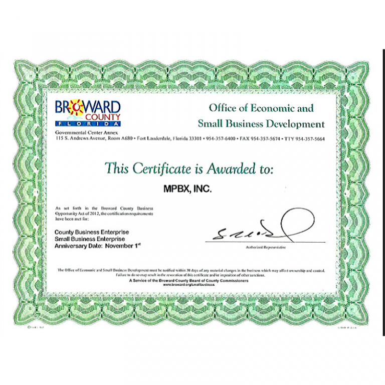 Certificate of Small Business on Broward County